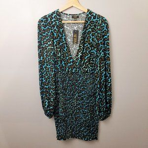 AFRM Blue Leopard Print Smocked Mini Dress